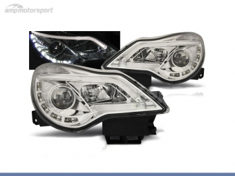 FAROS DELANTEROS LUZ DIURNA LED REAL + TUBE LIGHT PARA OPEL CORSA D