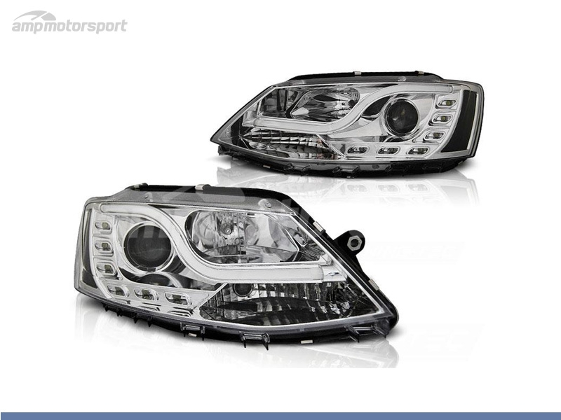 FAROS DELANTEROS LUZ DIURNA LED REAL + TUBE LIGHT PARA VOLKSWAGEN JETTA