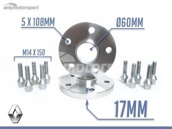 ESPAÇADORES DE 17MM PARA RENAULT CLIO RS&V6